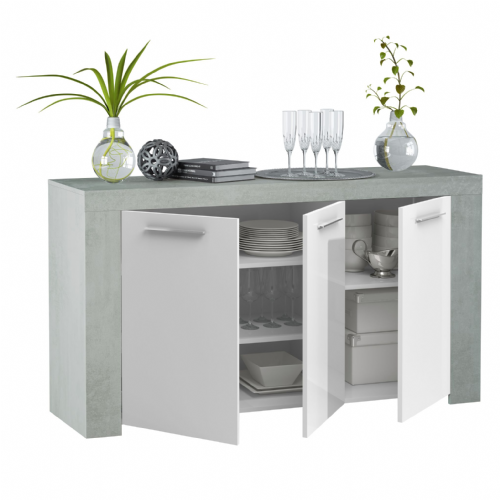 Curro White Gloss and Grey Sideboard - 2904